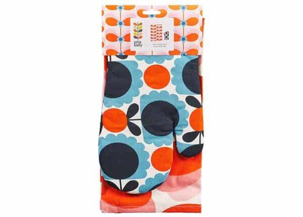 Orla Kiely Tea Towel and Oven Mitt Set - Butterfly Stem