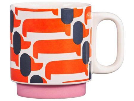 Orla Kiely Dachshund Mug Papaya