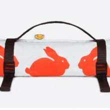 Anorak Kissing Rabbits Large Picnic Blanket