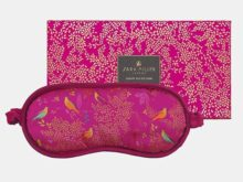 Sara Miller Silk Eye Mask Birds In A Tree Pink