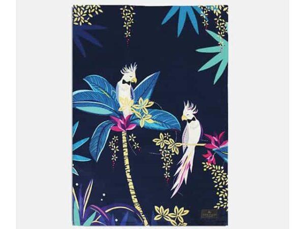 Sara Miller Tahiti Cockatoo Tea Towel Placement Blue