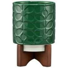 Orla Kiely Ceramic Sixties Stem Jade Green Plant Pot