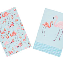 KitchenCraft Flamingos Tea Towels 2 Piece Set