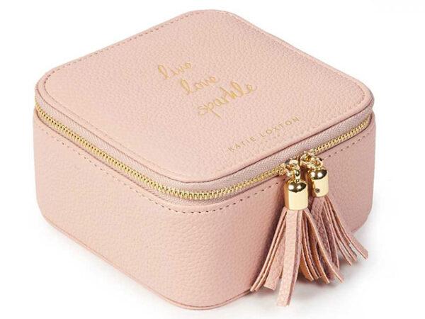 Katie Loxton Tassel Square Jewellery Box | Live Love Sparkle | Pink