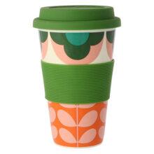 Orla Kiely Summer Flower Stem Pink and Green Travel Mug 300ml