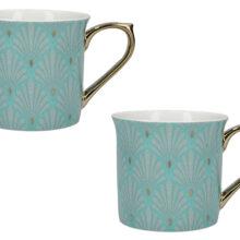 Victoria And Albert Scallop Shells Palace Mugs Turquoise Set Of 2