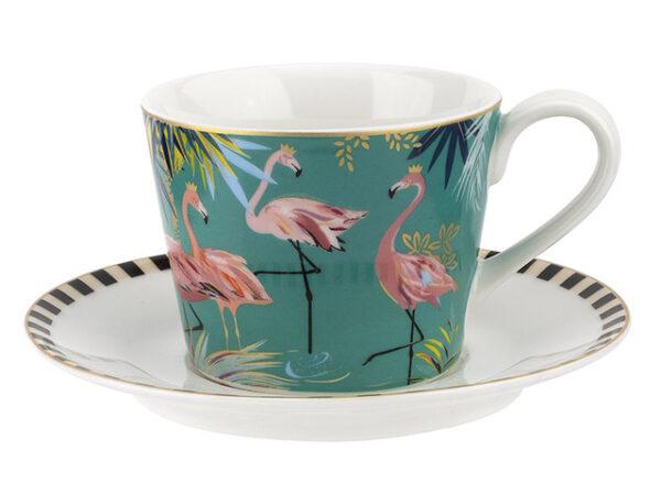 Sara Miller Tahiti Flamingo Tea Cup & Saucer