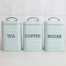 Living Nostalgia Vintage Blue Steel Tea Coffee Sugar Canisters