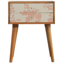 Screen Printed Pink Floral Bedside Table