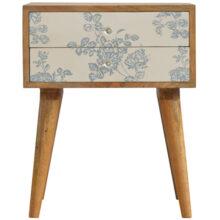 Screen Printed Floral Blue Bedside Cabinet