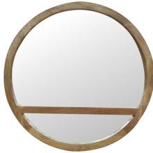 Wooden Round Mirror with Shelf