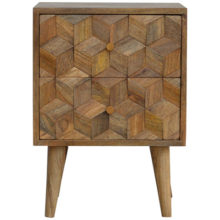 Cube Carved Bedside Table with 2 Drawers