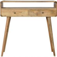 Curved Oak-like Mango Wood Console Table