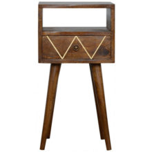 Brass Inlay Geometric Petite Bedside Table