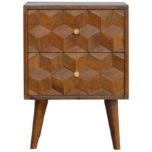 Chestnut Cube Carved Bedside Table