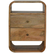 London Curved Wood Bedside Cabinet with 2 Drawers