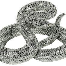 Silver Coiled Rattlesnake Figurine